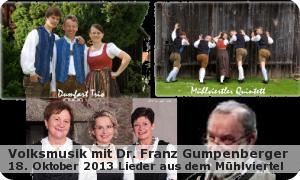 """Volksmusik mit Dr. Franz Gumpenberger """"Lieder Aus dem Mühlviertel"""""""